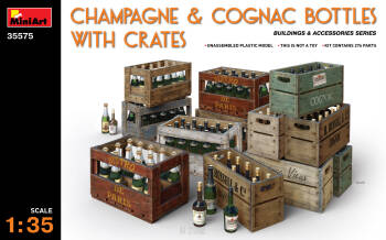 Champagne & Cognack Bottles with Creates